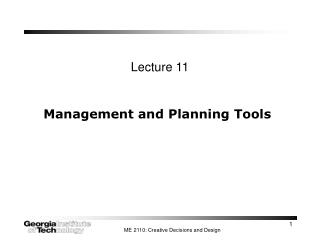 Management and Planning Tools