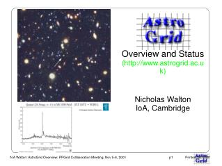 Overview and Status (astrogrid.ac.uk) Nicholas Walton IoA, Cambridge