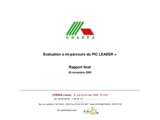 Évaluation à mi-parcours du PIC LEADER + Rapport final 26 novembre 2003
