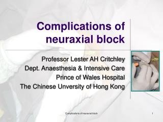 Complications of neuraxial block