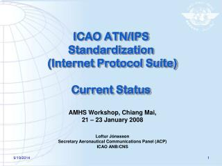ICAO ATN/IPS Standardization  (Internet Protocol Suite) Current Status