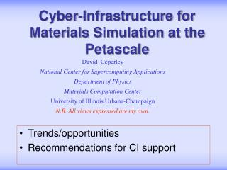Cyber-Infrastructure for Materials Simulation at the Petascale
