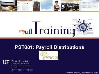 PST081: Payroll Distributions