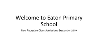 Welcome to Eaton Primary School