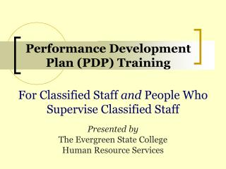 Performance Development Plan (PDP) Training