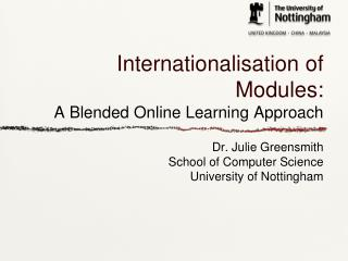 Internationalisation  of Modules: A Blended Online Learning Approach