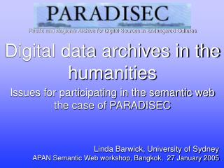 Digital data archives in the humanities