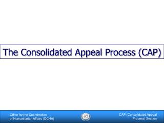The Consolidated Appeal Process (CAP)