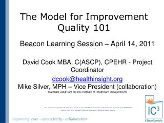 The Model for Improvement Quality 101