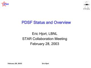 PDSF Status and Overview