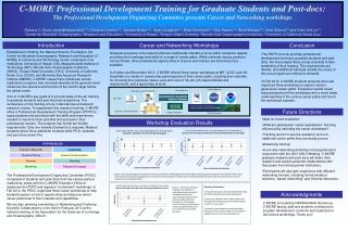 C-MORE Professional Development Training for Graduate Students and Post-docs: