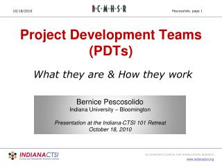 Project Development Teams (PDTs)