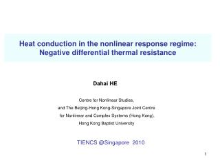 Heat conduction in the nonlinear response regime:  Negative differential thermal resistance
