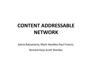 CONTENT ADDRESSABLE NETWORK