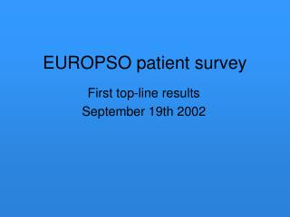 EUROPSO patient survey