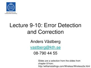 Lecture 9-10: Error Detection and Correction