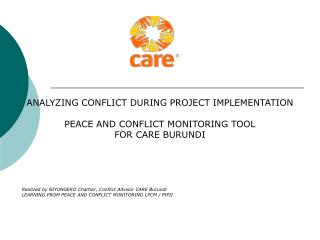 ANALYZING CONFLICT DURING PROJECT IMPLEMENTATION PEACE AND CONFLICT MONITORING TOOL