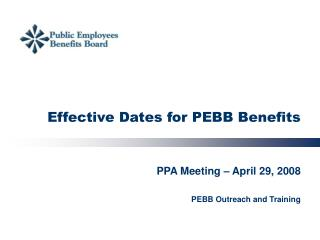 Effective Dates for PEBB Benefits