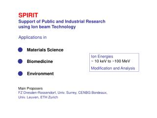 SPIRIT Support of Public and Industrial Research using Ion beam Technology Applications in