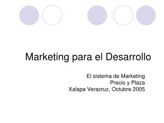 Marketing para el Desarrollo