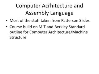 Computer Acrhitecture and Assembly Language