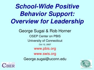 School-Wide Positive Behavior Support: Overview for Leadership