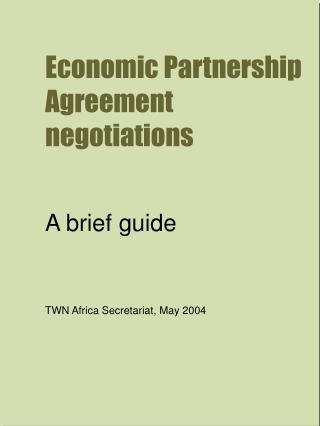 Economic Partnership Agreement negotiations