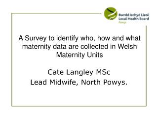 A Survey to identify who, how and what maternity data are collected in Welsh Maternity Units