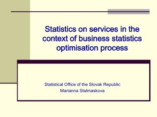 Statistics on services in the context of business statistics optimisation process