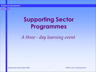 Supporting Sector Programmes