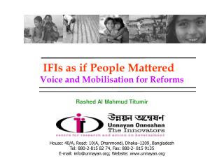 IFIs as if People Mattered Voice and Mobilisation for Reforms Rashed Al Mahmud Titumir