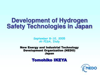 September 8-10, 2005 At PISA, Italy  New Energy and Industrial Technology