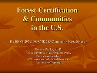 Forest Certification & Communities in the U.S.