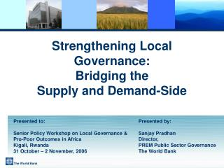 Strengthening Local Governance: Bridging the  Supply and Demand-Side