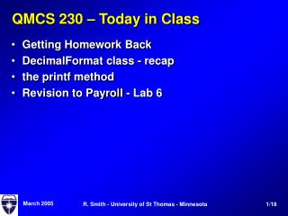 QMCS 230 – Today in Class