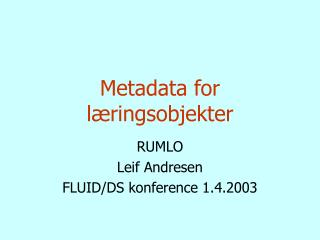Metadata for læringsobjekter
