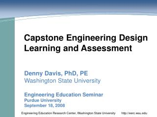 Capstone Engineering Design Learning and Assessment