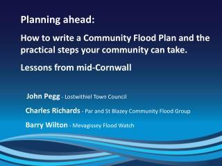 Planning ahead: