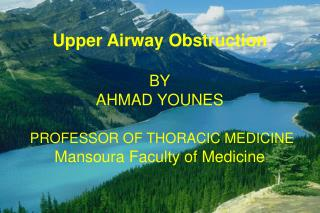 Upper Airway Obstruction BY AHMAD YOUNES PROFESSOR OF THORACIC MEDICINE
