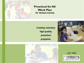 Preschool for All Work Plan for Ventura County