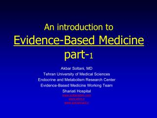 An introduction to Evidence-Based Medicine part- 1