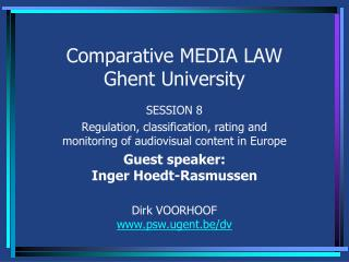 Comparative MEDIA LAW Ghent University