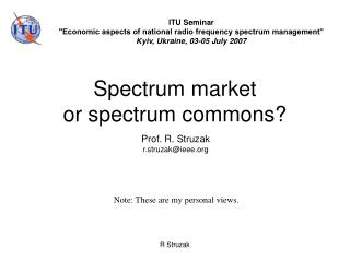 Spectrum market  or spectrum commons?