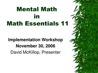 Mental Math  in  Math Essentials 11