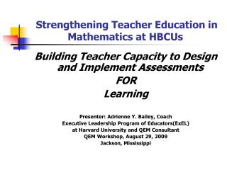 Strengthening Teacher Education in Mathematics at HBCUs