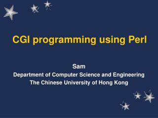 CGI programming using Perl