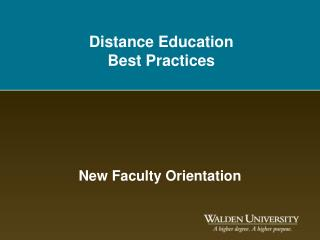 Distance Education Best Practices