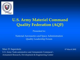 U.S. Army Materiel Command Quality Federation (AQF)