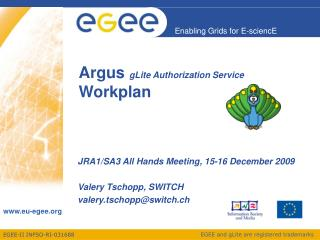 Argus  gLite Authorization Service Workplan