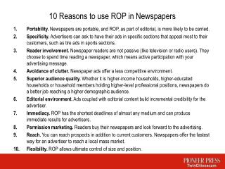 10 Reasons to use ROP in Newspapers